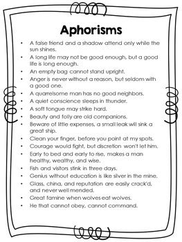 Aphorisms by Benjamin Franklin - Mentor Texts for Writing
