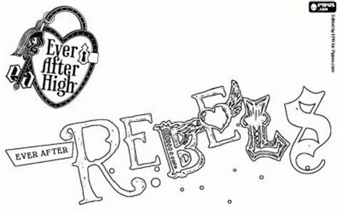 ever after high logo coloring pages coloriage logo de rebels les rebelles de l 233 cole ever