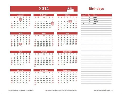 calendar template by vertex42 yearly birthday calendar template for excel you can
