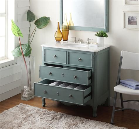 Retro Bathroom Vanities by Adelina 34 Inch Vintage Bathroom Vanity Vintage Mint Blue