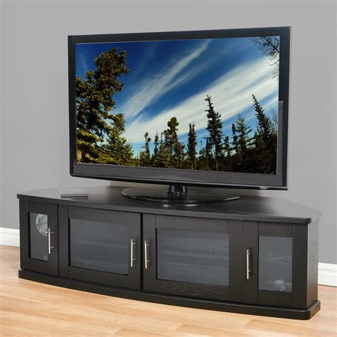 Corner Tv Cabinets With Glass Doors Large Corner Tv Cabinet With 4 Glass Doors And Silver Handle Hardware Decofurnish