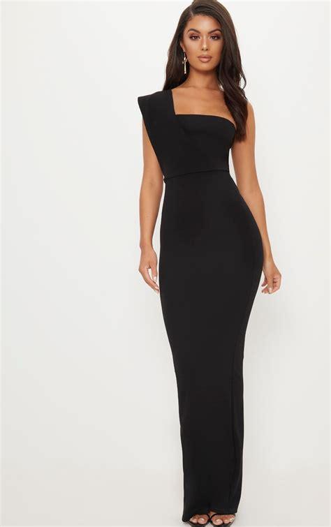 black  shoulder maxi dress dresses prettylittlething