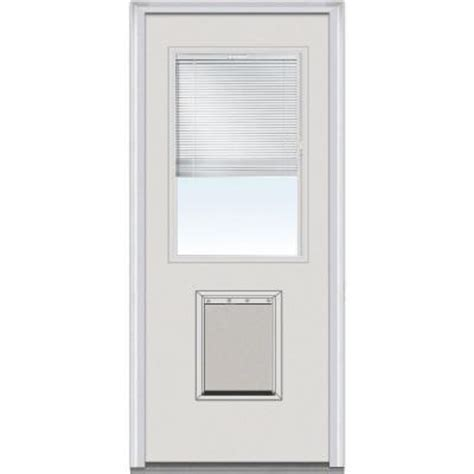 Exterior Door With Pet Door Milliken Millwork 30 In X 80 In Mini Blinds Clear Glass 1 2 Lite Primed Builder S