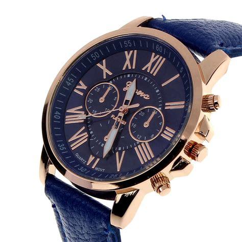 Guess Leather Romawi Blue new fashion wanita angka romawi jam tangan kulit imitasi