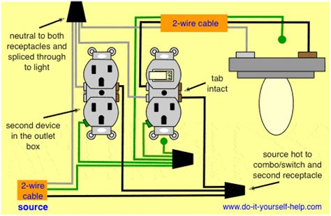 wiring a light switch and outlet off of a wiring diagram