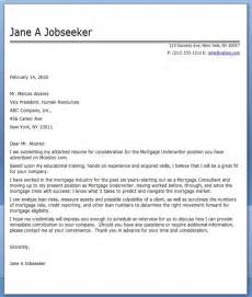 Mortgage Processor Cover Letter by Exle Cover Letter For Mortgage Underwriter Resume Downloads