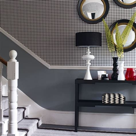 monochrome hallway with feature wall chic monochrome