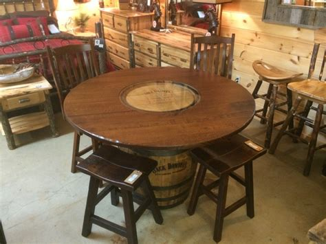whiskey barrel kitchen table and chairs whiskey barrel pub table rustic dining