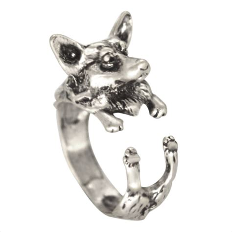 one adjustable handmade corgi ring animal wolf ring