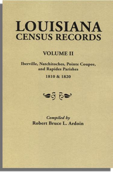 State Of Louisiana Marriage Records Louisiana Census Records Volume Ii Iberville Natchitoches Pointe Coupee And