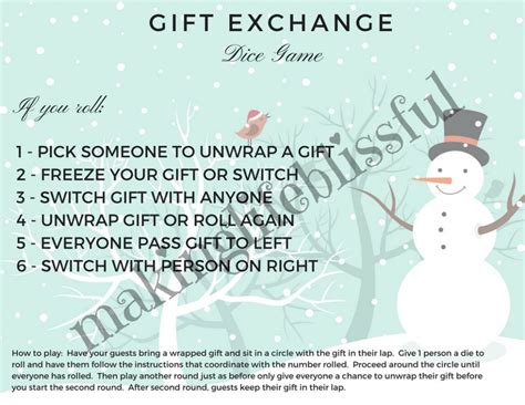 printable dice gift game christmas party game printables making life blissful