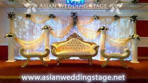 Moon Chair Covers Gold And White Swag And Backdrop Wedding Stage