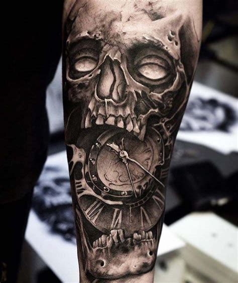 Black And Gray Clock And Skull Tattoos On Bicep Black And Grey Tattoos