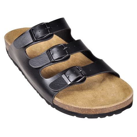 Black Unisex black unisex bio cork sandal with 3 buckle straps size 41 vidaxl co uk