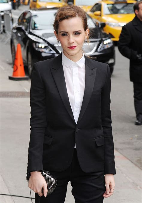 emma watson in suit emma watson in fitted trouser suit arriving to the late