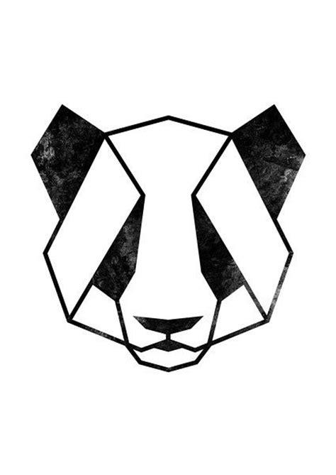 panda kopf tattoo geometrische tier panda kunst panda print panda von