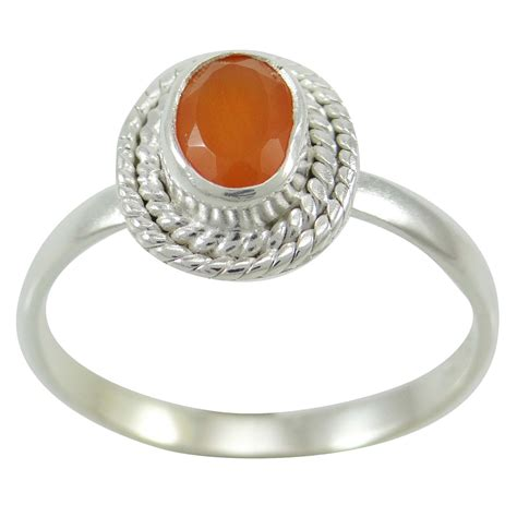 carnelian 925 sterling silver ring us size 6 charming