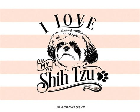 shih tzu silhouette animals pets svg file cutting file clipart in svg eps