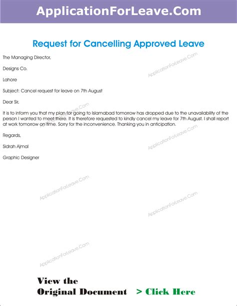 cancellation letter of application letter to cancel the approved leave of employee due to