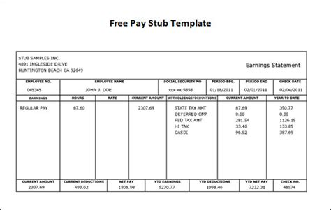 pay stub template pdf free pay stub template 9 free pdf doc sle