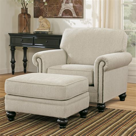 ashley furniture chair and ottoman signature design by ashley milari linen transitional