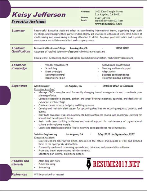 executive resume format 2017 executive assistant resume sles 2017