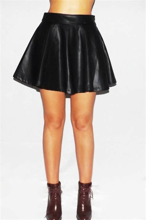 oprey black leather look skater skirt
