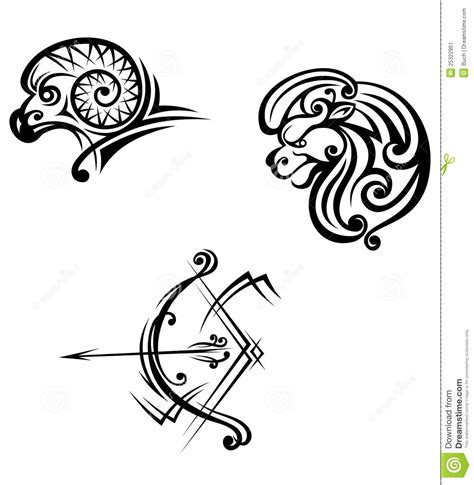 leo aries and sagittarius symbols stock vector image
