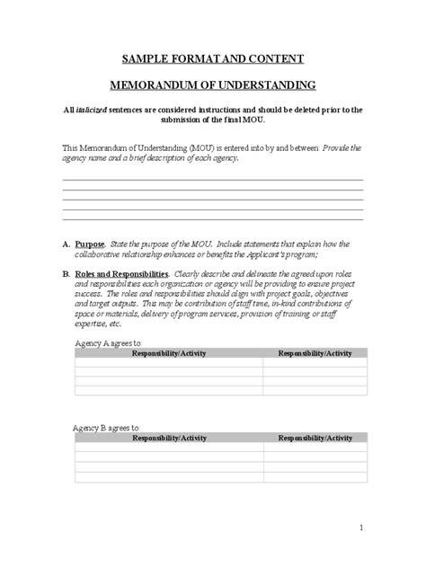 free mou template memorandum of understanding 6 free templates in pdf
