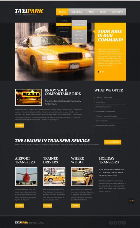 Taxi Website Template 42518 Taxi Website Template