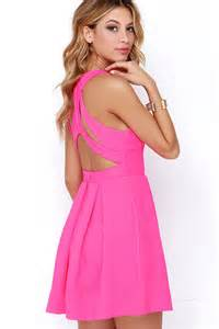 colored for juniors neon pink dress backless dress skater dress 45 00