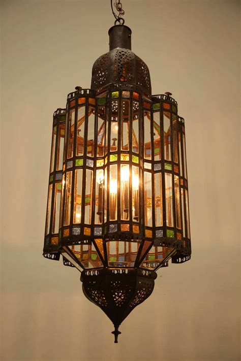 Moroccan Style Chandelier Large Moroccan Glass Pendant Chandelier At 1stdibs