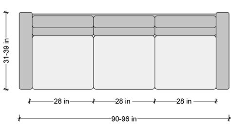how long is a standard couch sofa dimensions