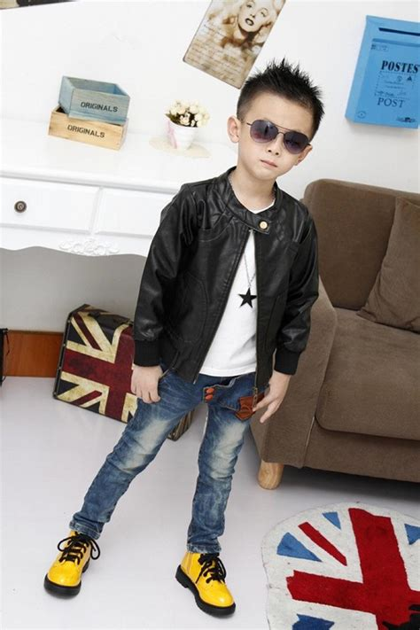 New Fashion Boy Sa75 Brown childrens brown leather jacket jacket to