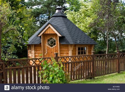 Deeside Cabins by Hexagonal Wooden Felted Garden Shed At Deeside Log Cabins Stock Photo Royalty Free Image