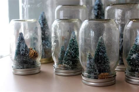 Handmade Snow Globes - jar snowglobes with tiny sparkly