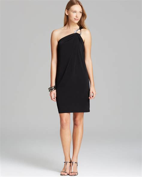 Black Shoulder Dress michael michael kors one shoulder dress in black black silver lyst