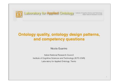 Or The Ontology Question In Design Science Research Ontology Quality Ontology Design Patterns And Competency Questions