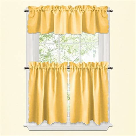 Kitchen Curtains Yellow Window Curtain Tier Pairs And Valances In Yellow Www Bedbathandbeyond