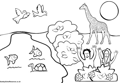 creation coloring page garden  eden christian pinterest