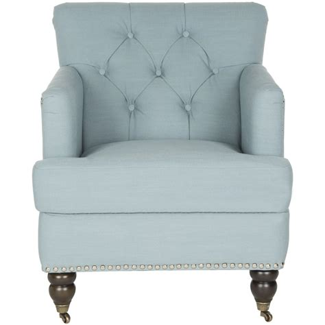 Safavieh Colin Chair by Safavieh Colin Casual Sky Blue Linen Accent Chair At Lowes