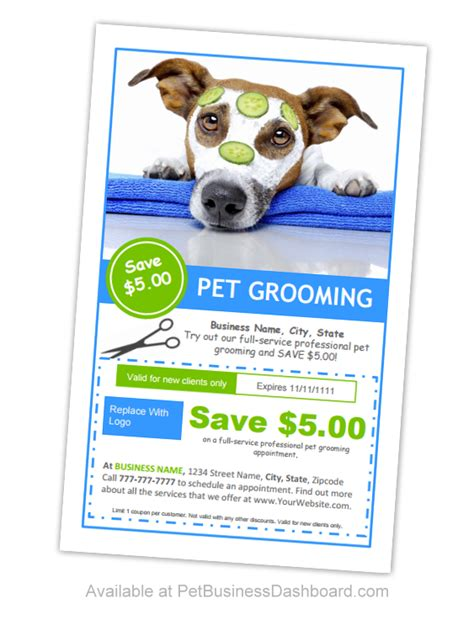 Dog Grooming Coupon Flyers Template
