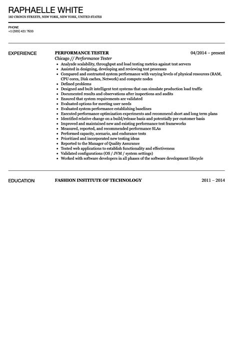 performance tester resume sle velvet