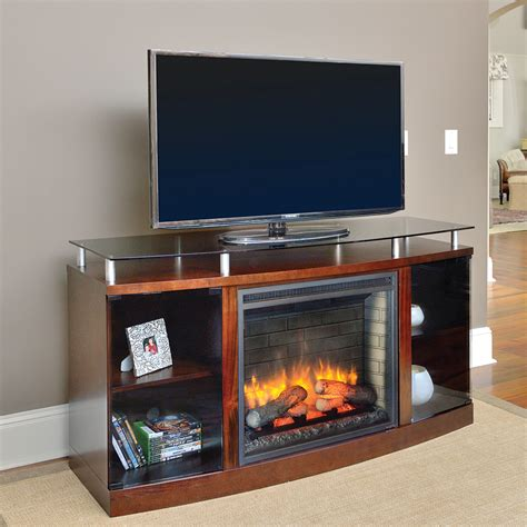 venture electric fireplace media console in mahogany