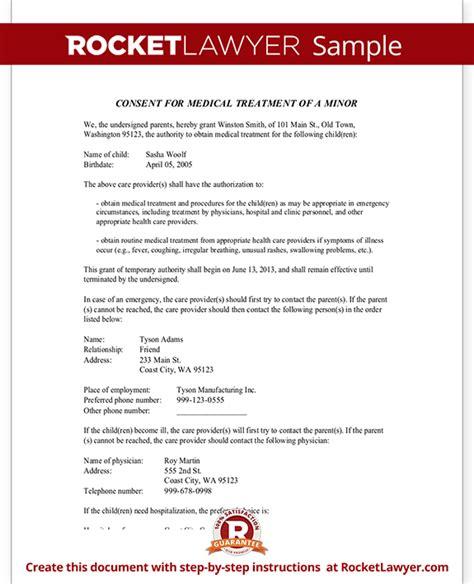 Parental Consent Letter For Treatment Child Consent Form Parental Authorization For Minor