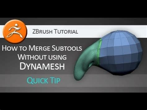 zbrush quick tutorial quick tip zbrush tutorial merge subtools without dynamesh