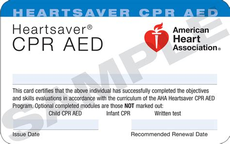 heartsaver aid cpr aed card template heartsaver 174 cpr aed new hshire cpr emt and aid