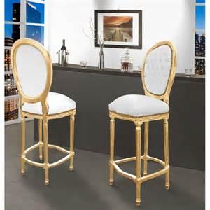 chaise de bar style louis xvi simili cuir blanc et bois dor 233