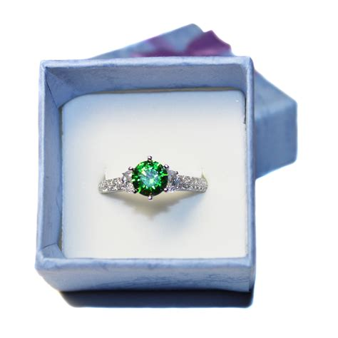 solitaire emerald promise ring green cubic zirconia