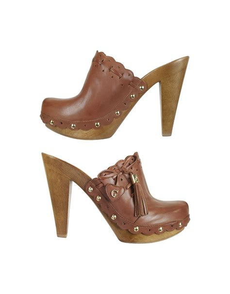 clog shoes guess verunca logo leather and wood clog shoes in brown lyst